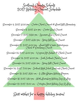 Holiday concdert schedule