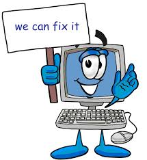"Computer with ""We can fix it"" sign"