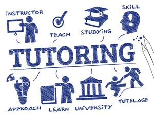 Blue and white tutoring sign